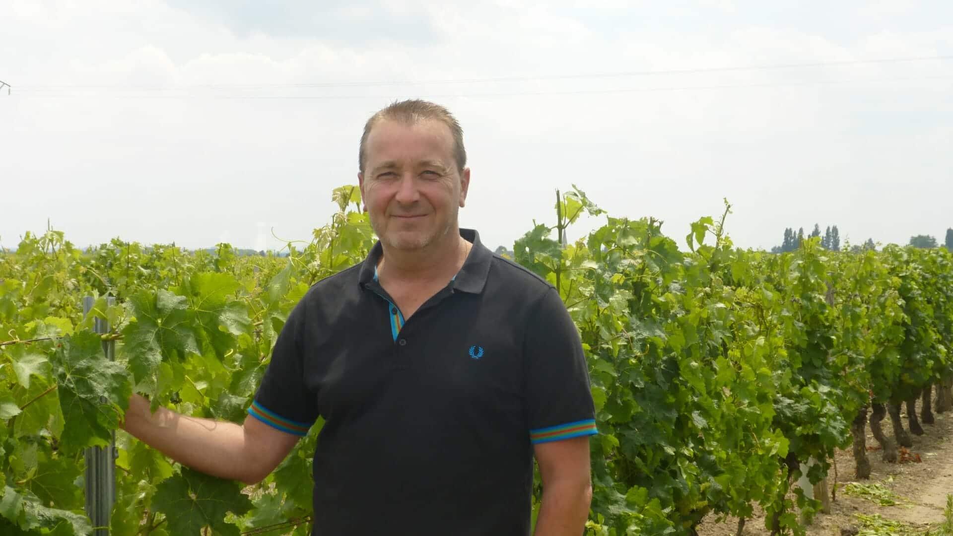 Vincent MABILEAU dans les vignes de Saint Nicolas de Bourgueil